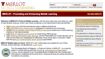 merlot mobile learning portal screen