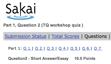 Sakai test question scoring