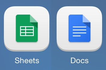 Sheets and Docs app icons