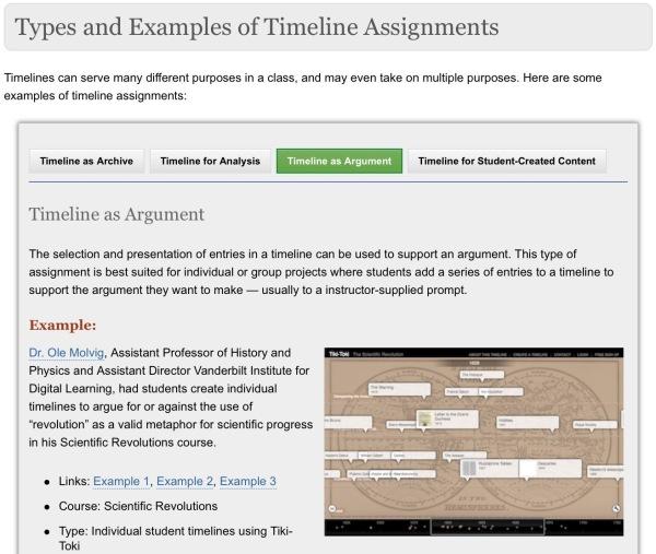part of the timeline teaching guide at Vanderbilt