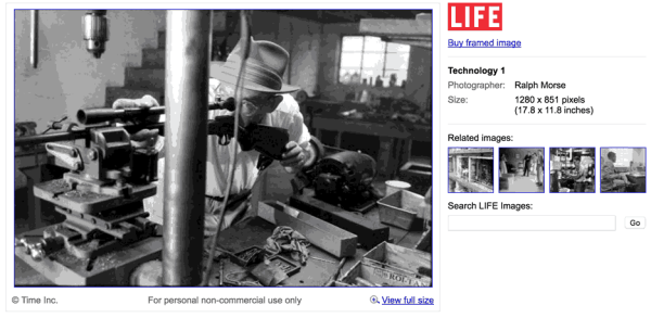 Sample image from the LIFE magazine archive accessible through a Google search